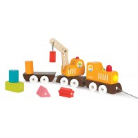 Janod - Multi Colour Train with Crane